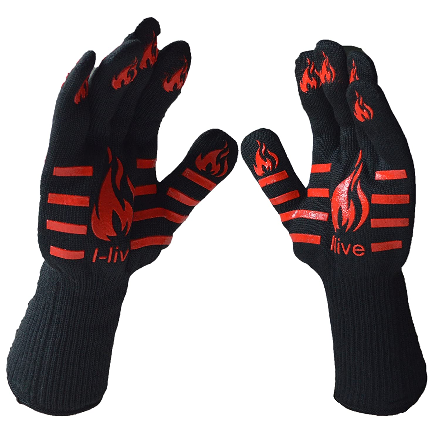 I-Live 932°F Extreme Heat Resistant Gloves Set of 2 - Kitchen/Outdoor Hand Protection Gloves with Five Fingers - Use As Oven Glove, Pot Holders, BBQ Grilling Gloves for Grilling,Cooking,Backing