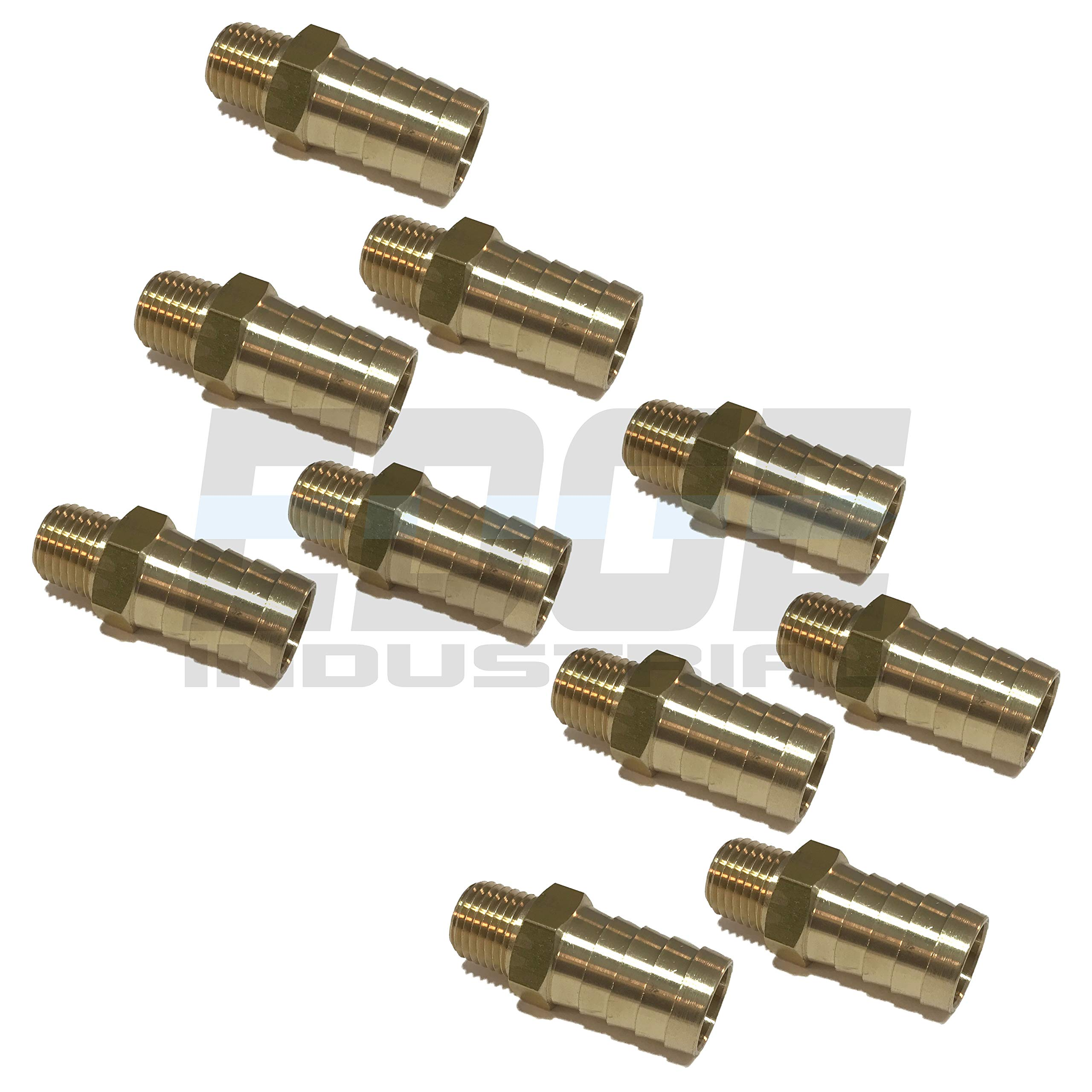 EDGE INDUSTRIAL 5/8'' Hose ID to 1/4'' Male NPT MNPT Straight Brass Fitting Fuel / AIR / Water / Oil / Gas / WOG (Qty 10)