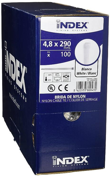 Index CKBB48290 Bridas de Nylon, Blanco, 4,8 x 290 mm, Set de 1000 ...