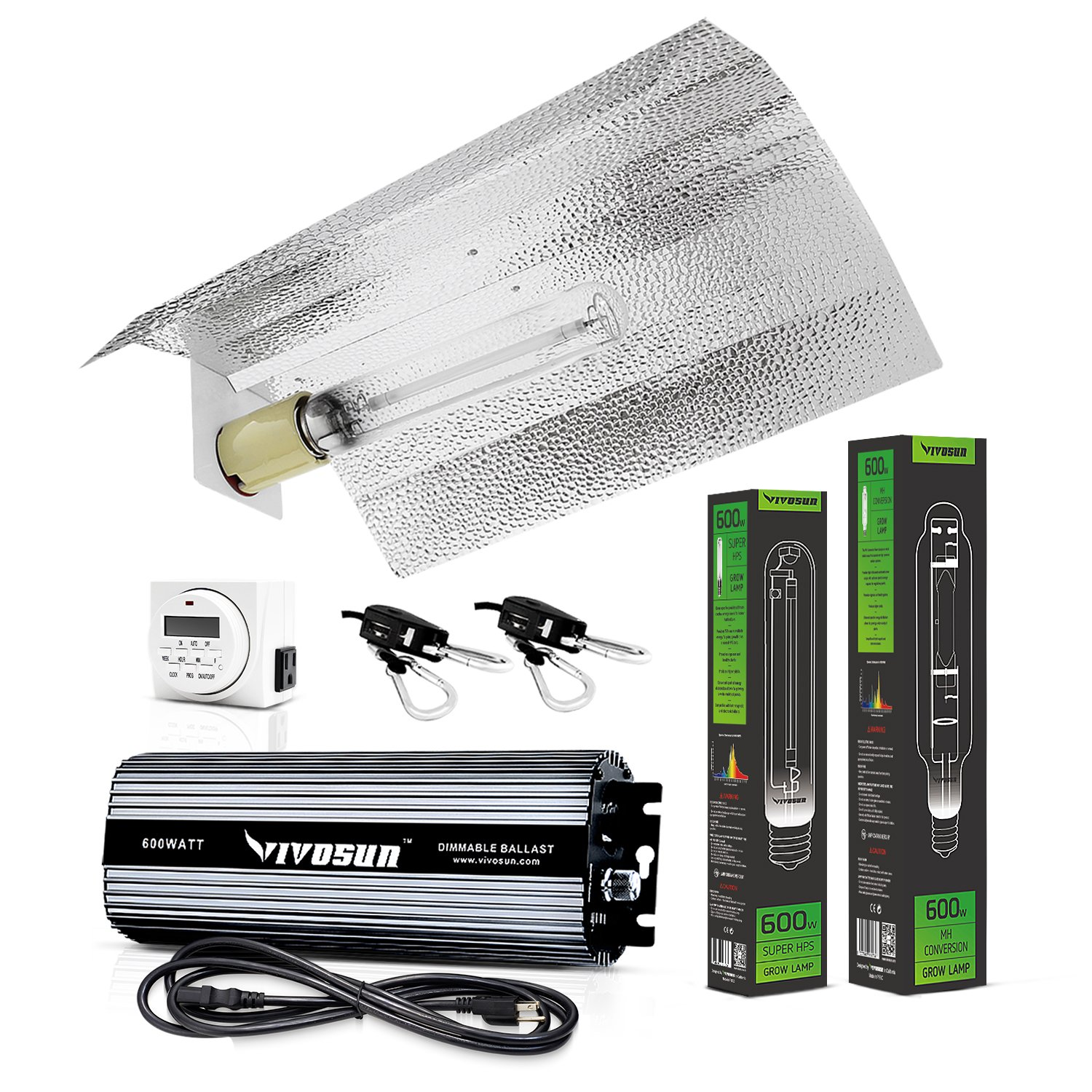 VIVOSUN Hydroponic 600 Watt HPS MH Grow Light Wing Reflector Kit - Easy to set up, High Stability & Compatibility ( Enhanced Version ) by VIVOSUN