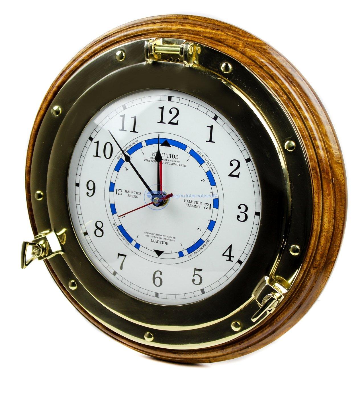 14'' Ocean Tide Time Clock | Wooden Base | Navigational Decor Gift | Nagina International by Nagina International
