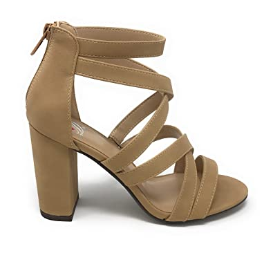 bf9545aca47 Delicious Womens JDMelba Faux Suede Closed Toe Strappy Back Zipper High Heel  Sandals (5.5 M