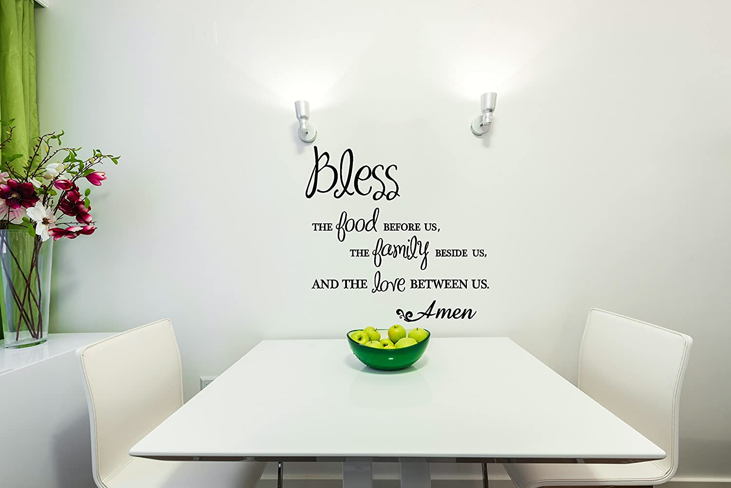 Bless The Food Before The Family Beside us and The Love Between Us Amen Wall Vinyl Sticker Lettering Decal 18Wx18H Black