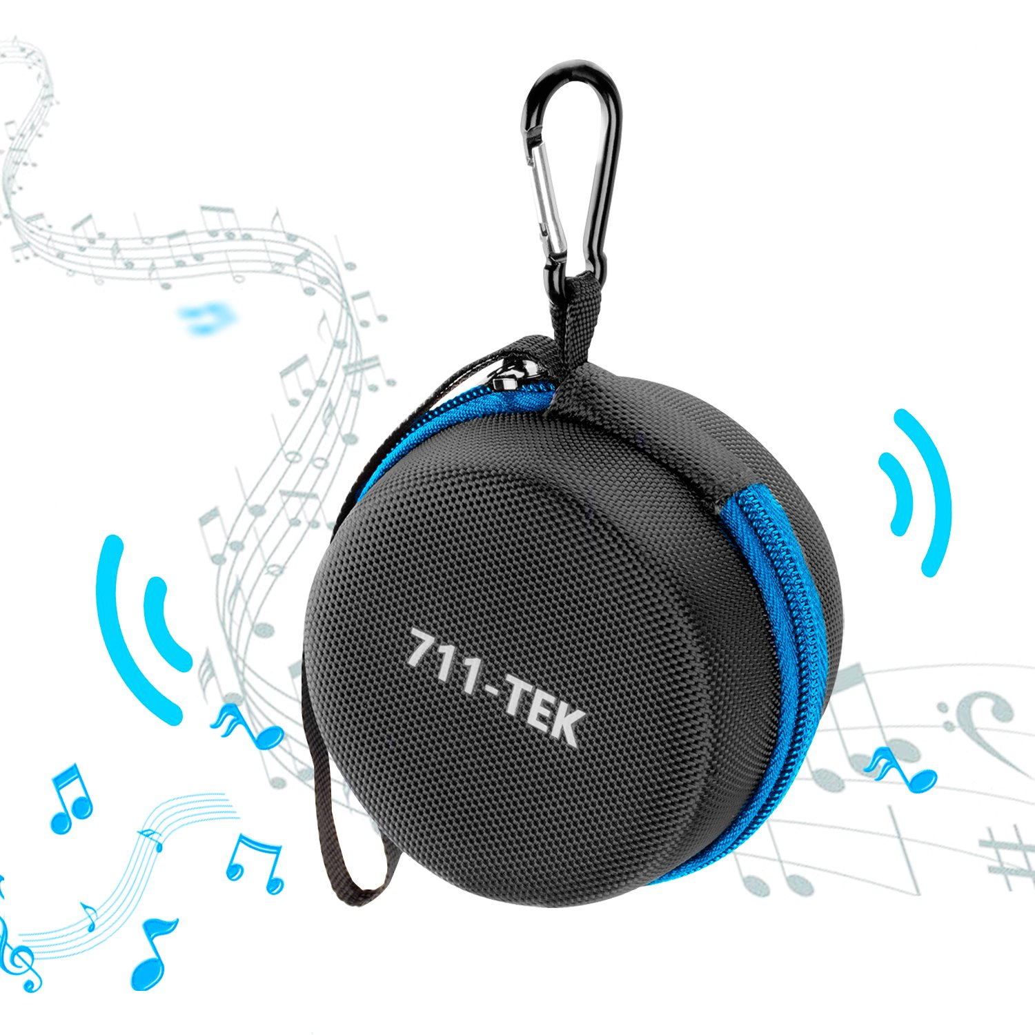 711TEK Echo Dot (2nd Generation) Case, Portable Carrying Travel Bag Protective Hard Case Cover with Screw-Lock Carabiner, Fits Phone Headset, Charger and USB Cable (Black)