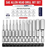 Allen Wrench Drill Bit Set (PREMIUM 12pc COMPLETE SAE SET) /w Storage Case and Bit Holder - Hex Shank Magnetic Bit Set - THE GIFD COLLECTION - Fortified S2 Steel - Long 2in Heads for Drills