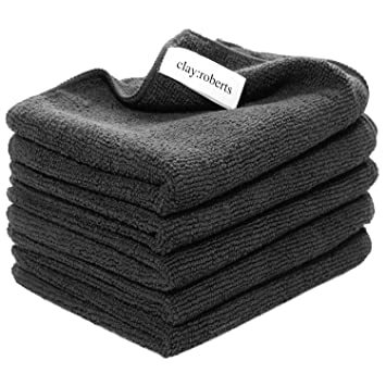 Microfibre Polishing and Dusting Cloths, Black, 5 Pack, Chemical ...