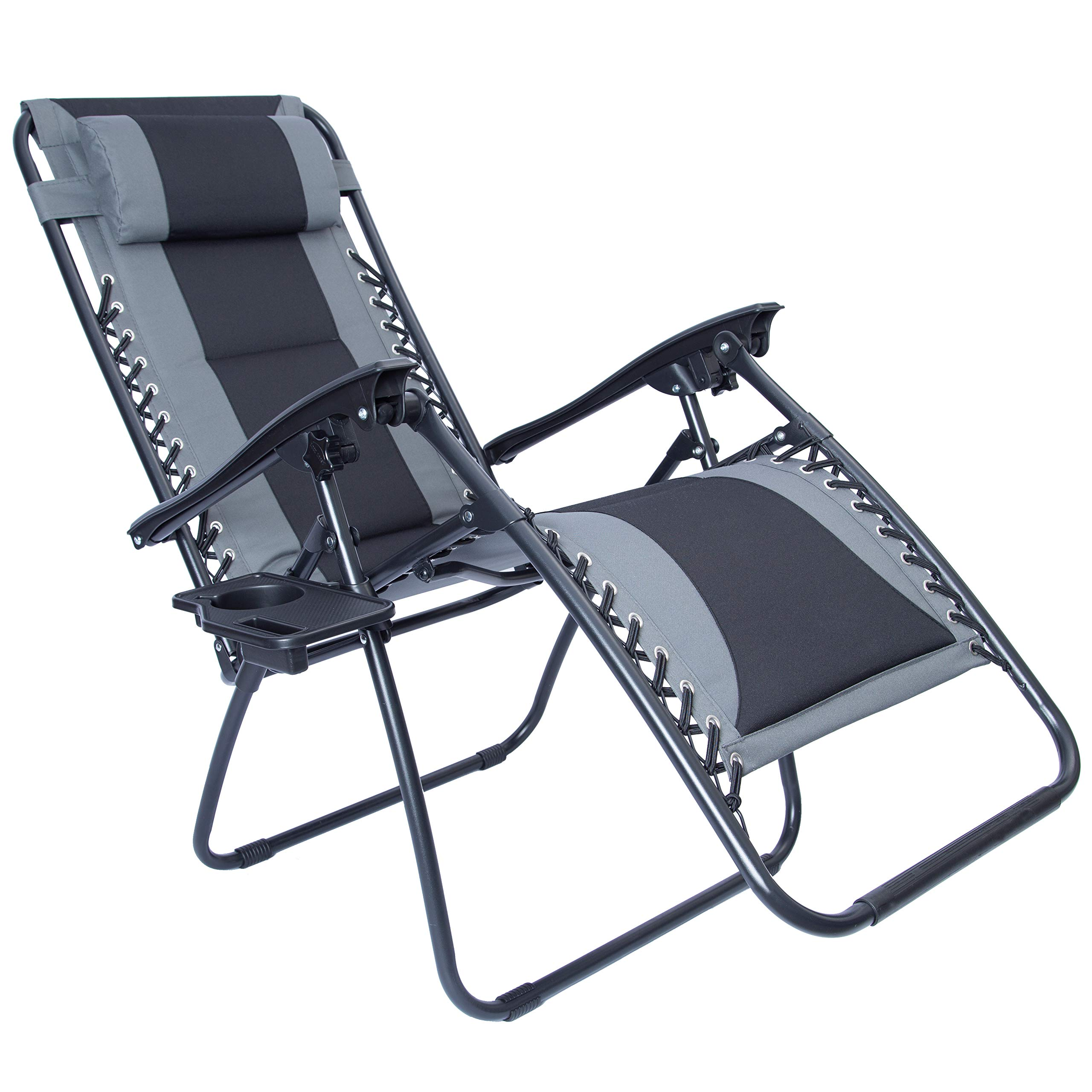 LUCKYBERRY Padded Zero Gravity Lounge Chair Patio Foldable Adjustable Reclining with Cup Holder for Outdoor Yard Porch Grey by LUCKYBERRY