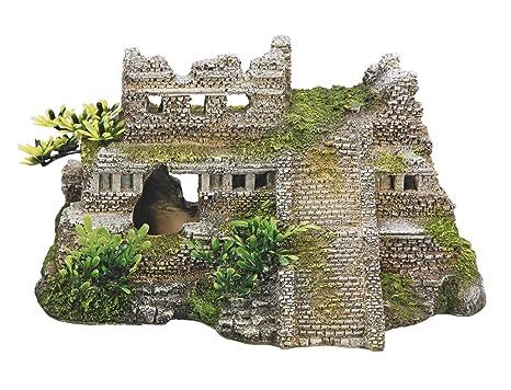 Nobby Aqua adornos 28190 Acuario Decoración Maya ruinas con plantas 217 x 147 x 117 mm