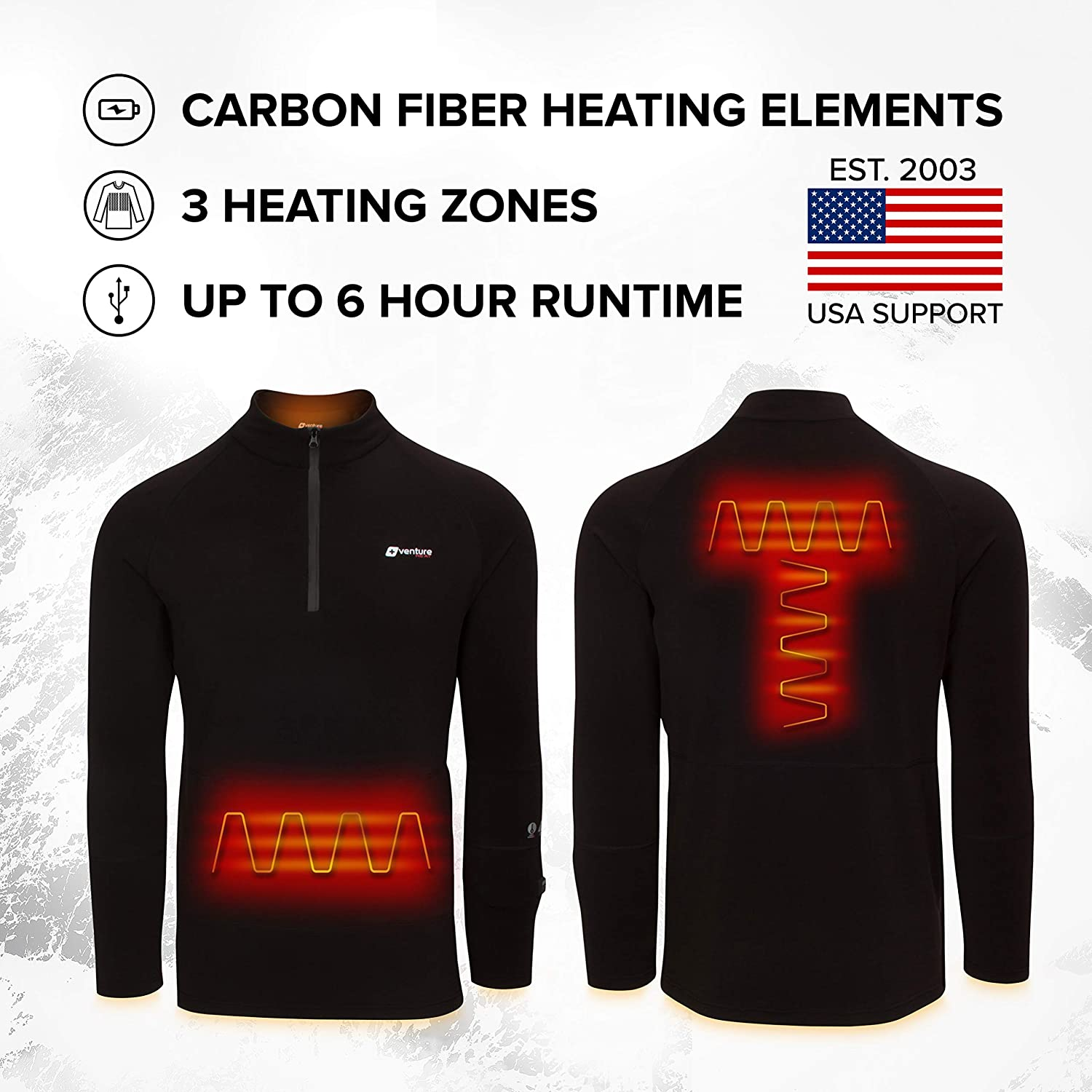 1//4 Zip Electric Base Layer Venture Heat Mens Heated Shirt Thermal Underwear with Battery Pack Long John Nomad