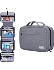 Hanging Travel Toiletry Bag for Men and Women - Multifuncation Waterproof Leak Proof Cosmetic Bag or Organizer Bag Portable Makeup Pouch by HOKEMP (Gray)