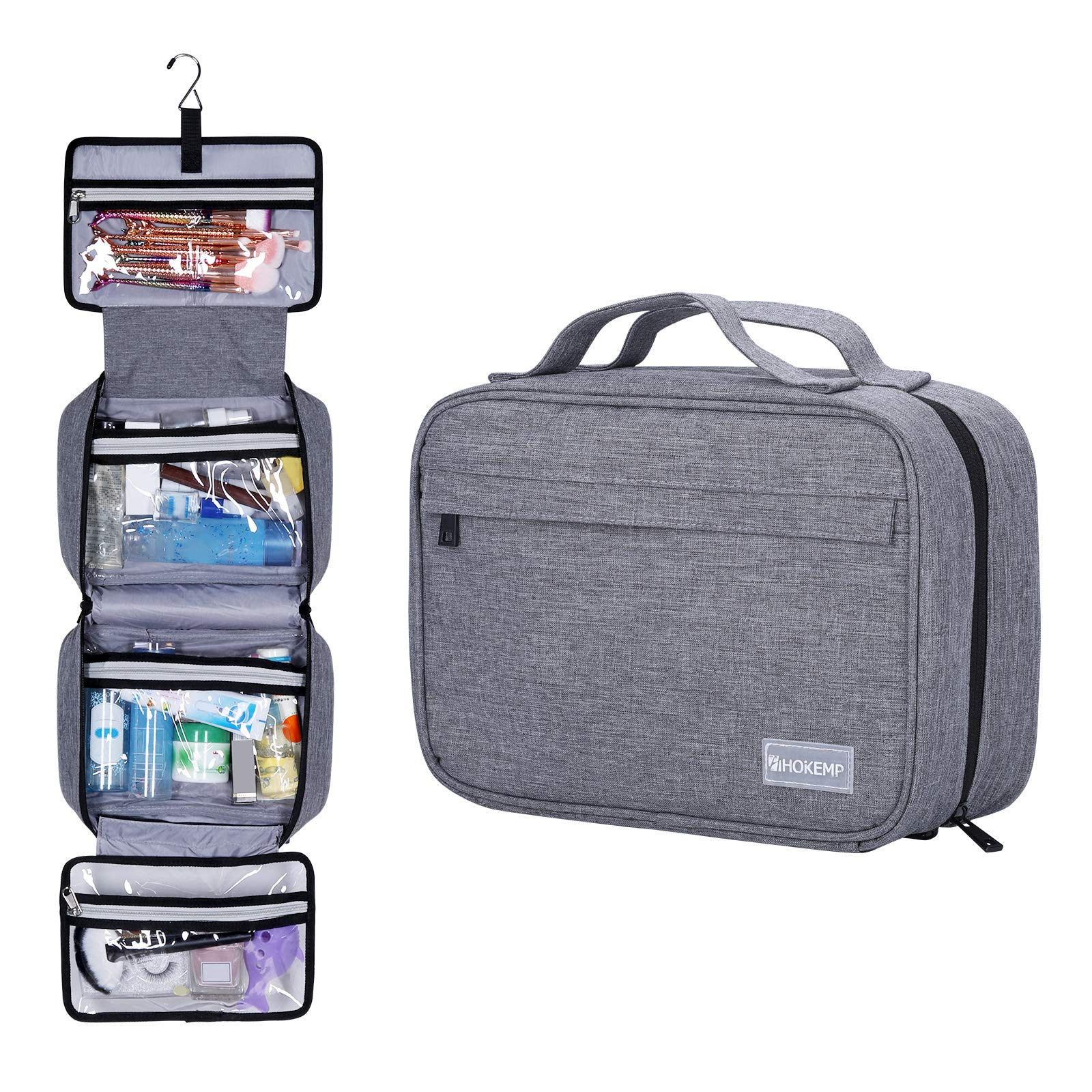 Hanging Toiletry Bag Travel For Men and Women - Waterproof Bathroom Shower Bag For Travel Cosmetic Bag Portable Makeup Pouch (Gray)