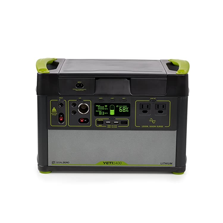 Goal Zero Yeti 1400 Lithium Portable Power Station WiFi Mobile App Enabled 1425Wh Silent Gas Free Generator Alternative with 1500 Watt