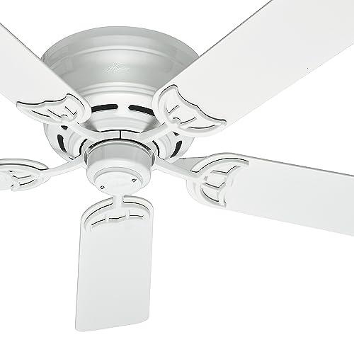 Hunter Fan 52 inch Low Profile Traditional Ceiling Fan in White, 5 Blade Renewed