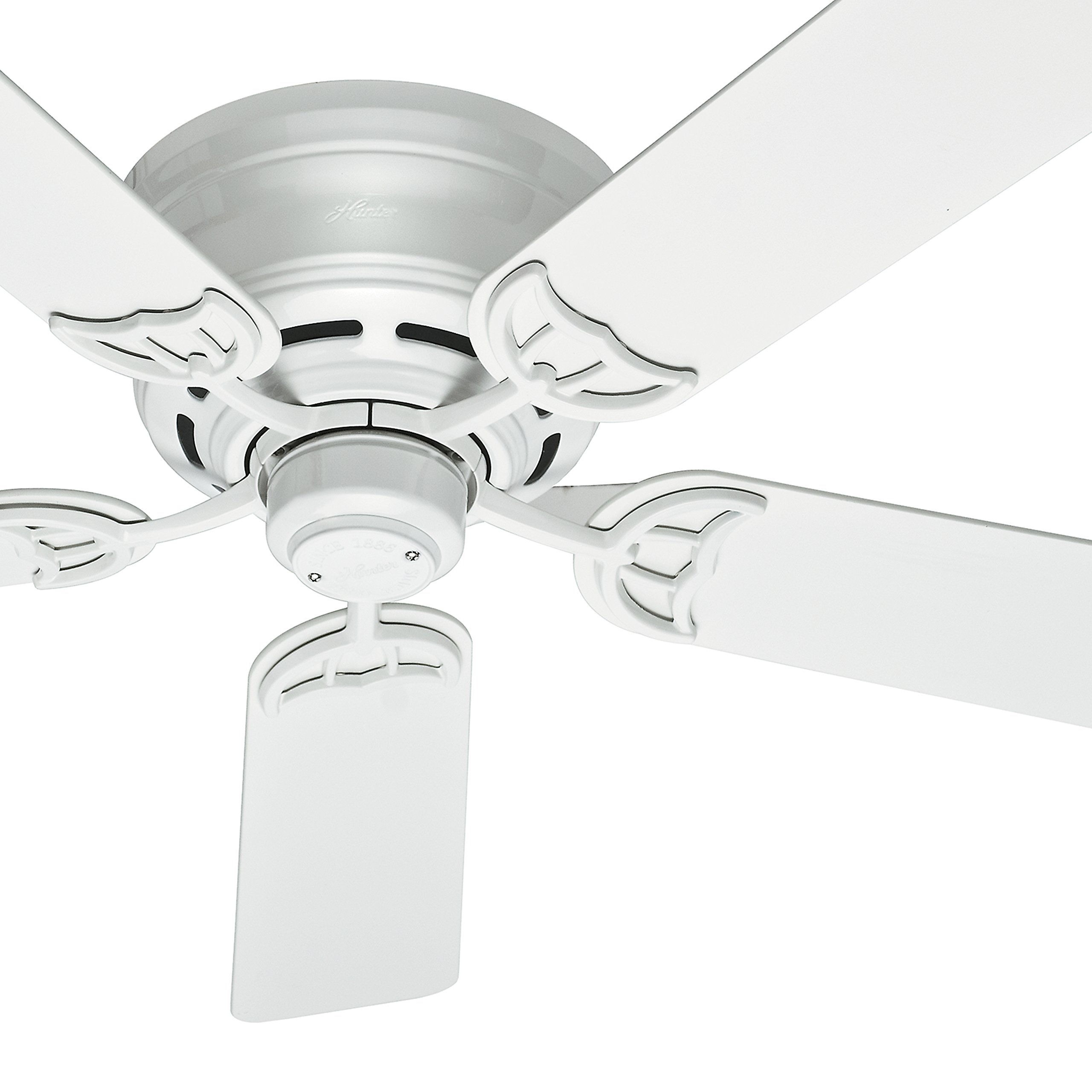 Hunter Fan 52'' Low Profile Traditional Ceiling Fan in White, 5 Blade (Certified Refurbished)