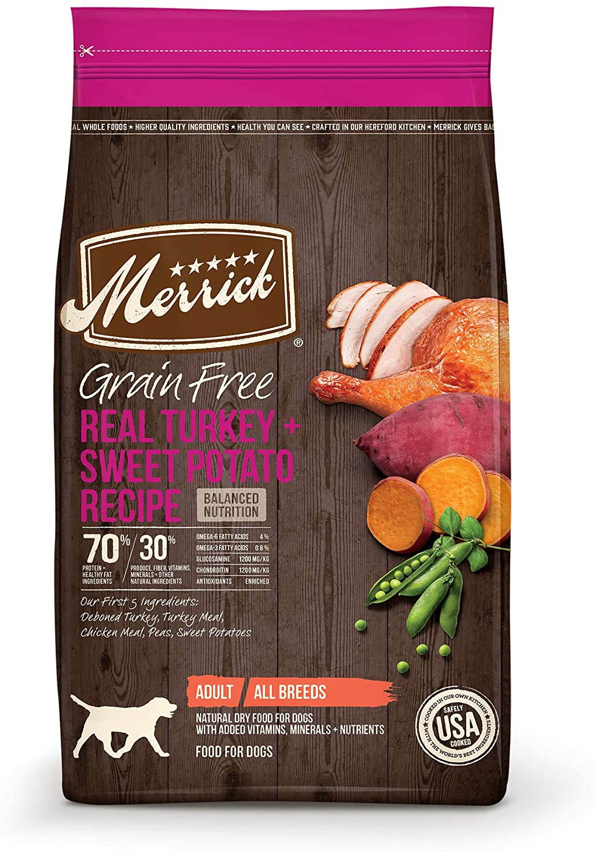Merrick Grain Free Dry Dog Food Real Turkey & Sweet Potato Recipe - 10 lb Bag