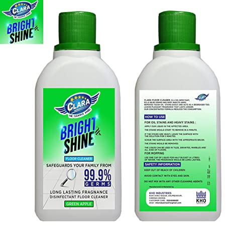 Clara Bright & Shine Floor Cleaner -Oil Stains Tough Stains Remover - Green  Apple Fragrance 500ml- DeGreaser