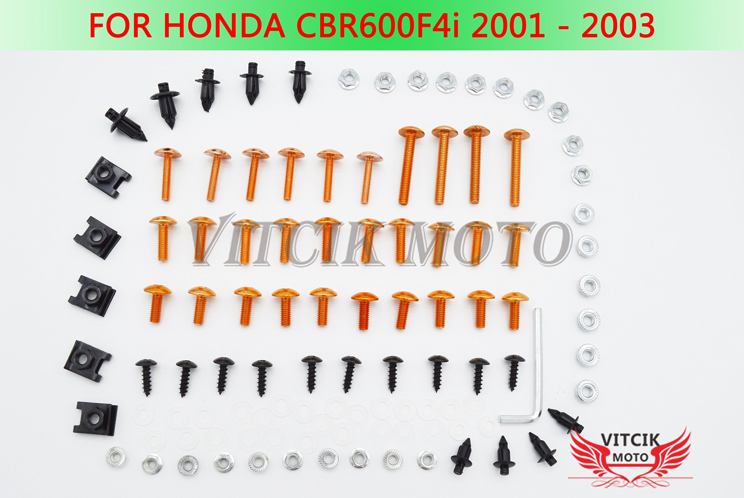 VITCIK Full Fairings Bolt Screw Kits for Honda CBR600F4i 2001 2002 2003 CBR 600 F4i 01 02 03 Motorcycle Fastener CNC Aluminium Clips (Orange & Silver)
