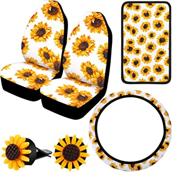 Boao Sunflower Accessories for Car Sunflower Steering Wheel Cover with Sunflower Front Seat Covers 2 Pieces Car Vent Sunflower and Center Console Armrest Pad Cover