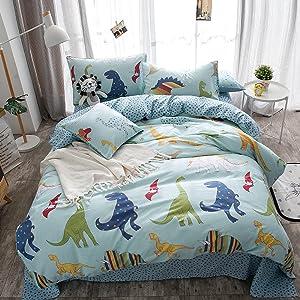 Merryfeel Kids Duvet Cover Set,100% Cotton Dinosaur Print Duvet Cover Set for Kids Bedding - Twin