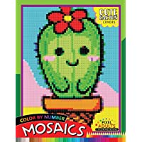 Cute Cactus Lovers Mosaic: Pixel Adults Coloring Books Color by Number