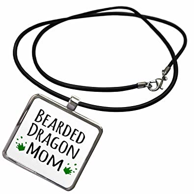 3dRose InspirationzStore Pet designs - Bearded Dragon Mom - for female  lizard and reptile enthusiasts and girl pet owners Green footprints -  Necklace
