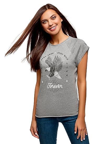 oodji Ultra Mujer Camiseta de Algodón con Estampado sin Etiqueta, Gris, ES 34 /