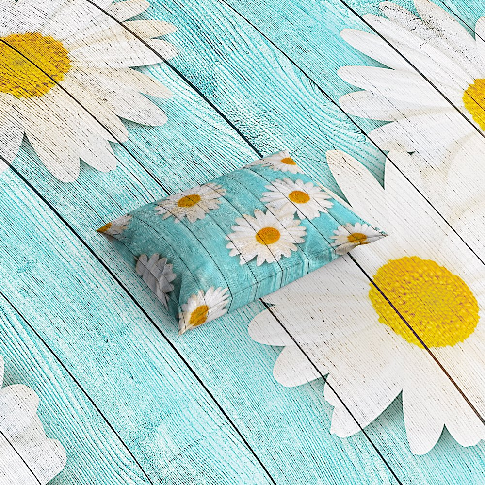 Libaoge 4 Piece Bed Sheets Set, White Daisy Flower on Rustic Old Barn Wood Design, 1 Flat Sheet 1 Duvet Cover and 2 Pillow Cases by Libaoge (Image #3)