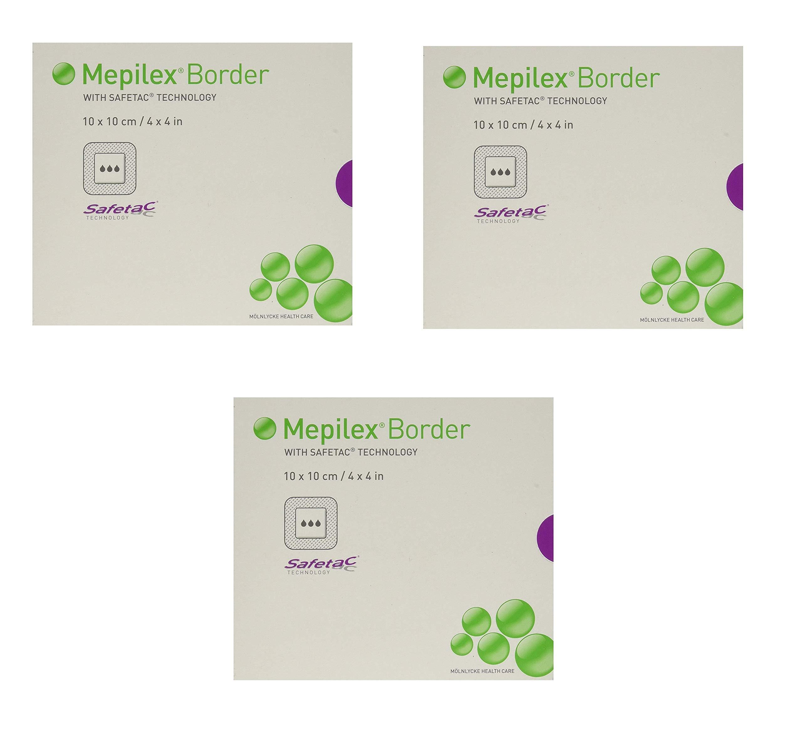 Mepilex Border Self-Adhesive Foam Dressings 4''x4'', 5 Count (3 Pack)