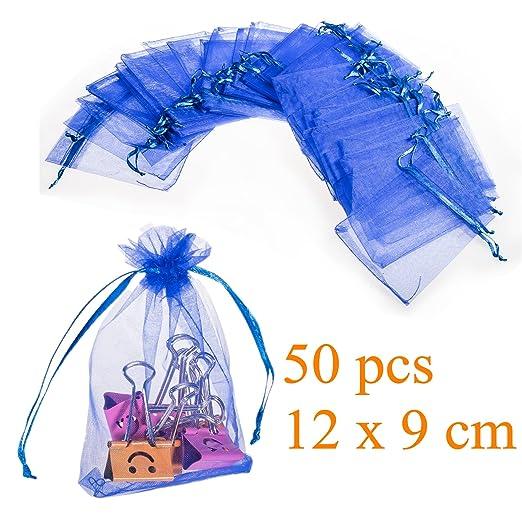 100 opinioni per JZK® 50 x Blu 9x12cm sacchetti sacchettini riso portariso portaconfetti