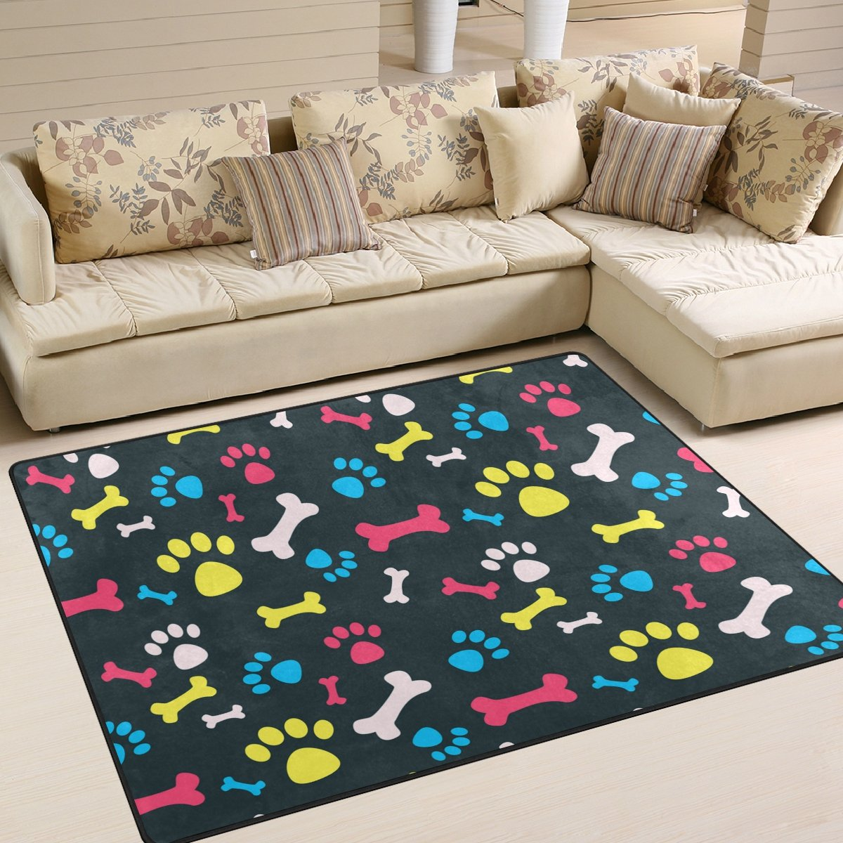 ALAZA Colorful Dog Pawprint Kids Area Rug,Pet Pawprint Non-Slip Floor Mat Soft Resting Area Doormats for Living Dining Bedroom 5 x 7