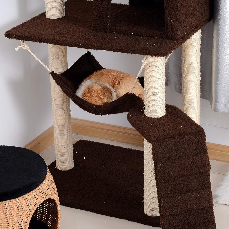PawHut Rascador para Gatos Árbol Rascador Grande Centro de Actividad Plataformas Escalera Hamaca Caseta Ratón de Juguete 73x58x150cm Sisal Natural: ...