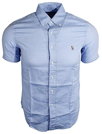 bacb59bd9 Polo Ralph Lauren Men's Short Sleeve Slim Fit Chambray Oxford Shirt, Light  Blue, Small