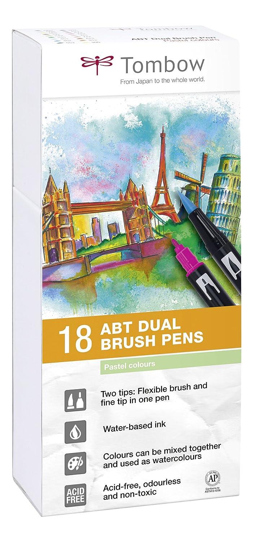 Tombow ABT-18P-5 Lot de 18 Feutres pinceau /à 2 pointes /étui couleurs pastel