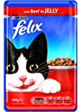 Felix Cat Food Pouch Beef in Jelly, 100 g - Pack of 20