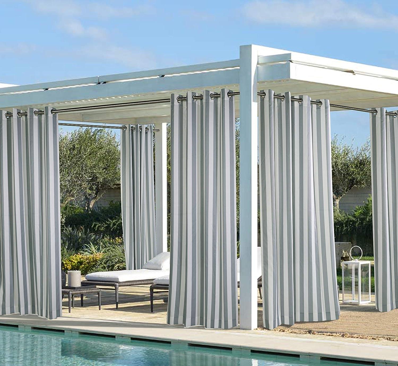 Outdoor Décor Coastal Stripe 108 Cabana Panel, Grey