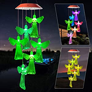JOBOSI Angel Wind Chime red Cover Solar Wind Chimes Outdoor Gardening Gifts for mom Unique Birthday Gifts for Women who has Everything Mother Gifts Gifts for Girlfriend Valentine Gifts for Wife