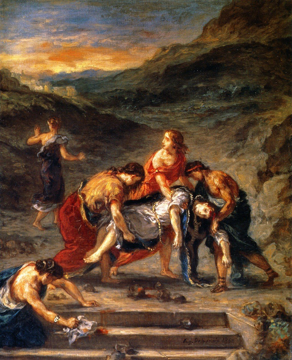 Saint Stephen Borne Saint Away by by His Disciples – by B01GGDFOYQ Eugene Delacroix – Unframed 24