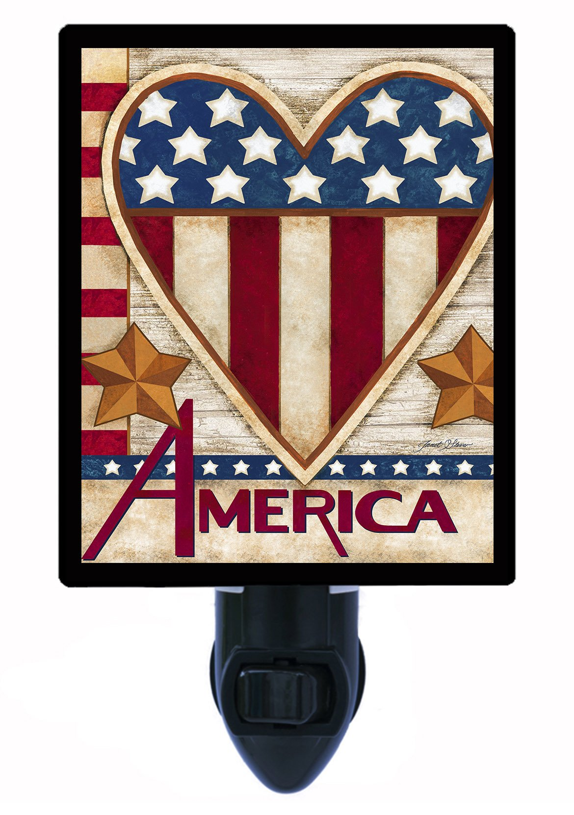 Night Light - Patriotic America - Heart - Patriotic - USA