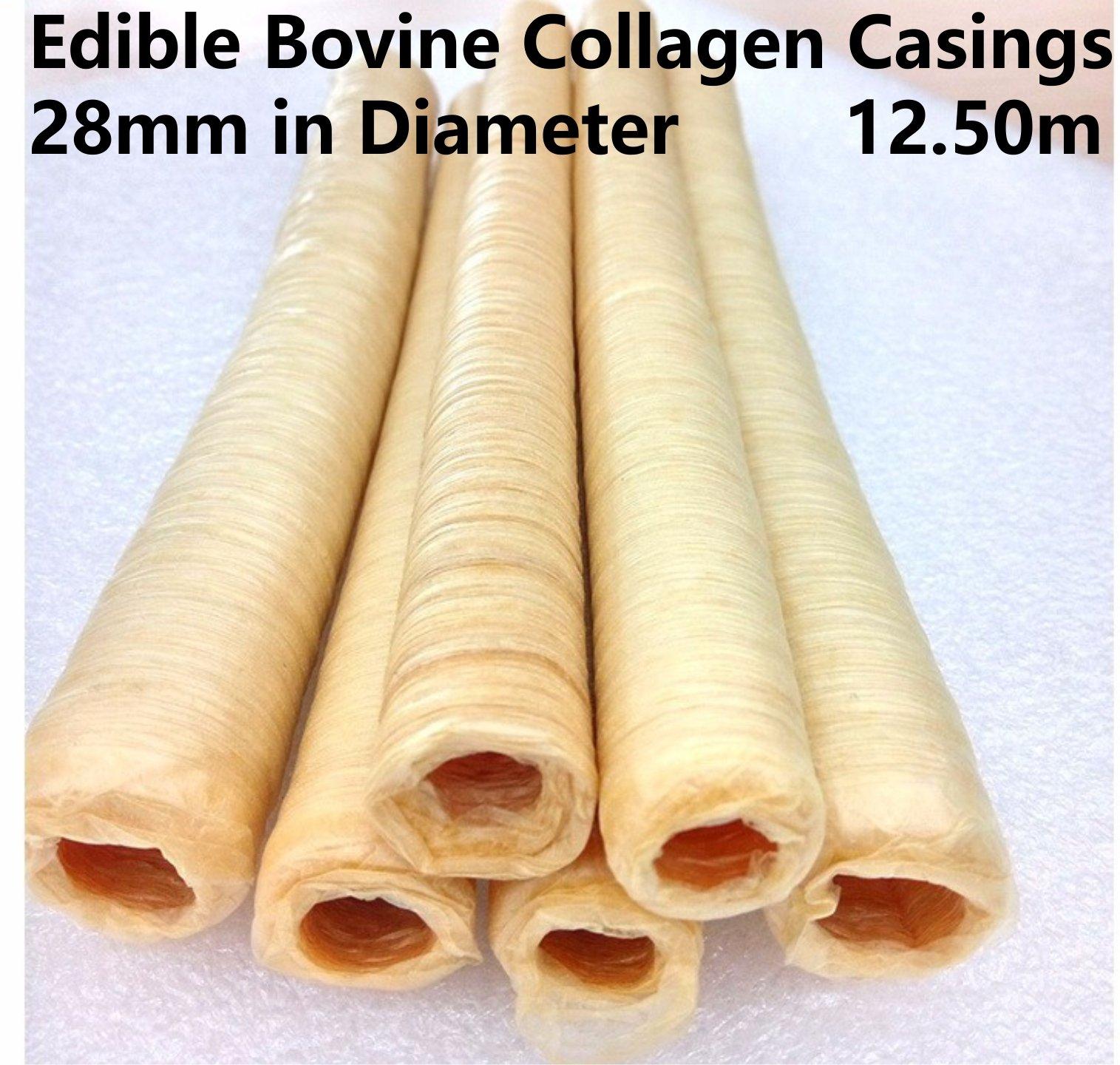 Pack of 2 Edible Bovine Collagen Casings 28mm in Diameter Total Length 25M / 82 Ft