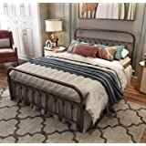 Metal Bed Frame Queen Size with Vintage Headboard and Footboard Platform Base Wrought Iron Double Bed Frame (Queen, Antique B