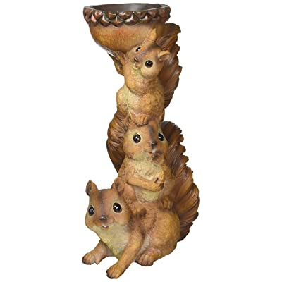 Design Toscano QM20497 Three's a Crowd, Stacked Squirrel Statue, full color : Outdoor Statues : Garden & Outdoor