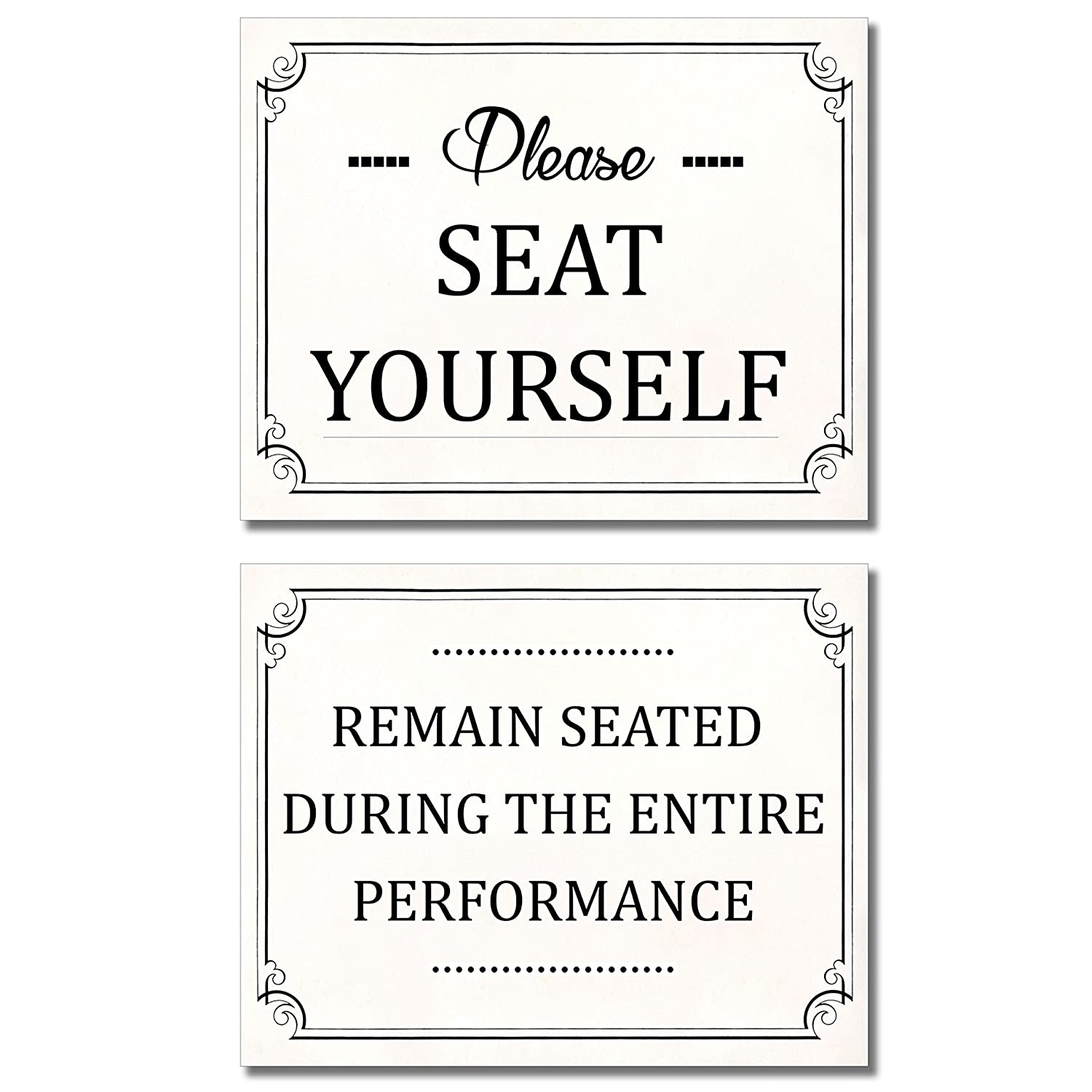 Bathroom funny wall art prints set of two 8x10 photos please seat yourself