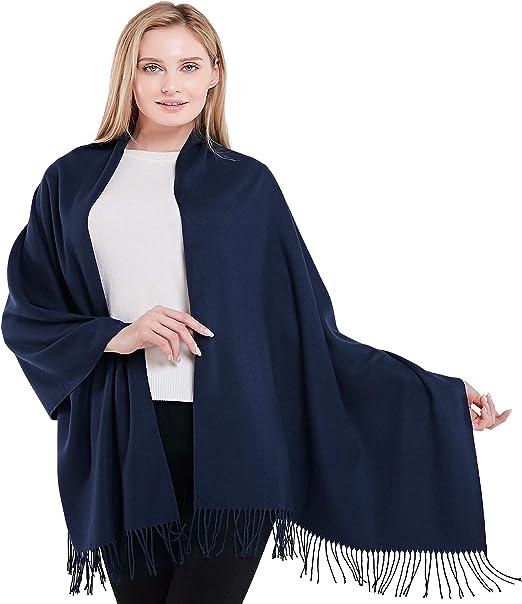 CJ Apparel Navy Blue Solid Colour Design Shawl Scarf Wrap Pashmina Seconds *NEW*