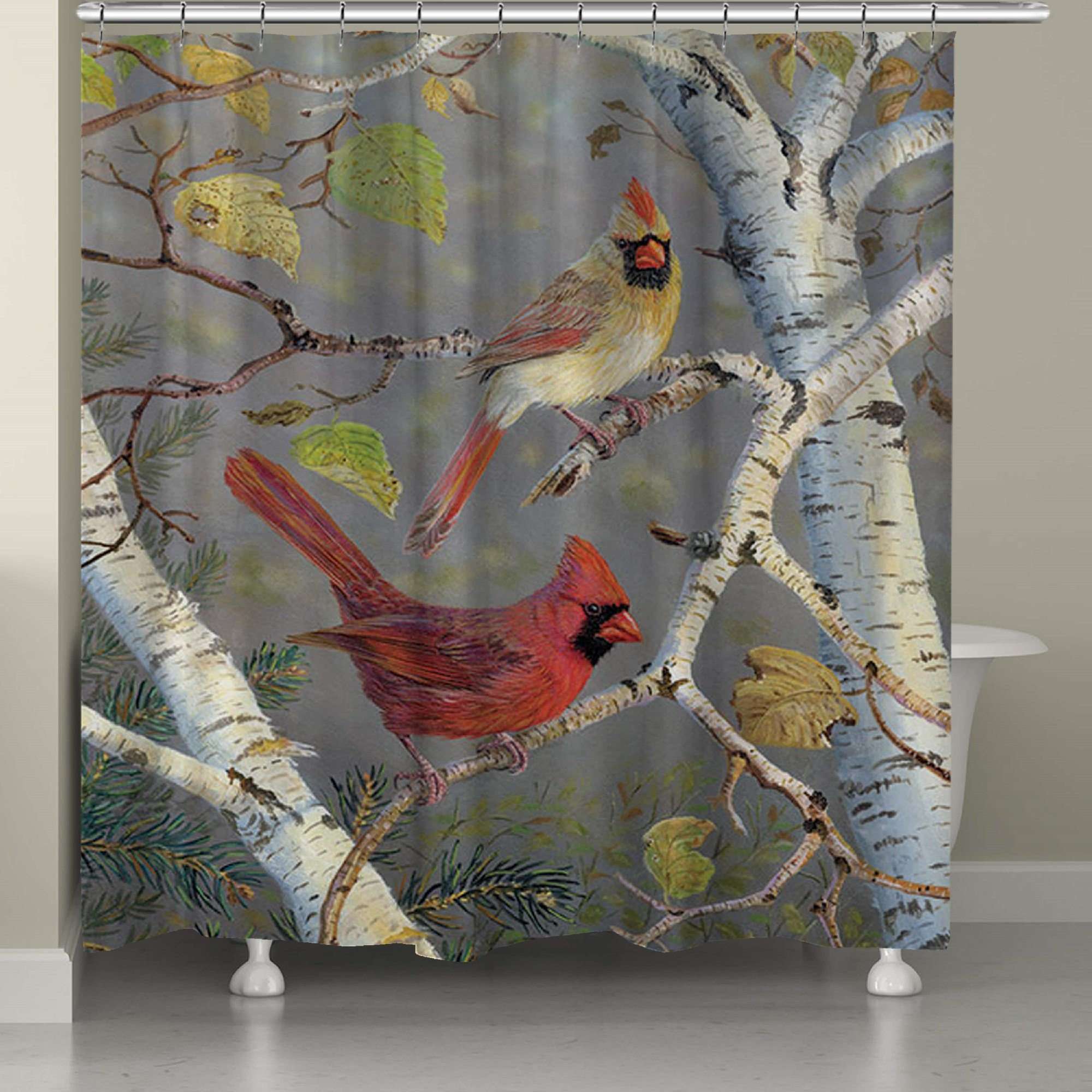 Birch Tree Cardinals Patterned, Vibrant Top Shower Curtain, Printed Exotic Forest Birds Trees Leafs Style, Premium Elegant Modern Home Decoration, Graphic Animal Lover Design, Grey, Red, Size 71 x 74