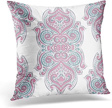 Emvency Decorative Pillow Cover Floral Pink And Turquoise Elegant Classic Luxury Damask Victorian Baroque Great Any Desired Idea Vintage Throw Pillow Case Sofa Home Decor Pillowcase 16x16 Inches Home Kitchen