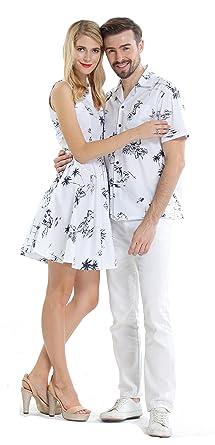 Luau Croisière Assorti Vintage Blanc Hawaïen Chemise Hawaii Hangover Classique Couple Robe Ensemble De Et j354ScqARL