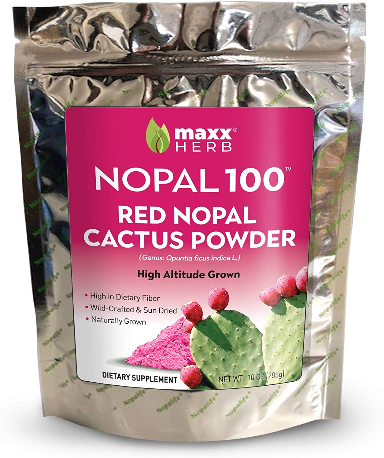 Maxx Herb Nopal 100 Red Nopal Cactus Powder (10 oz), for Blood Sugar Balance & Healthy Digestion, High in Dietary Fiber, Water Soluble, Vegan, Non-GMO and Gluten Free -1 Bag (28 Servings)