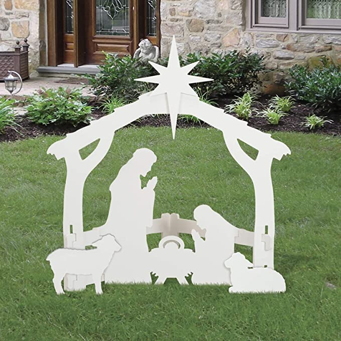 Outdoor White Nativity set