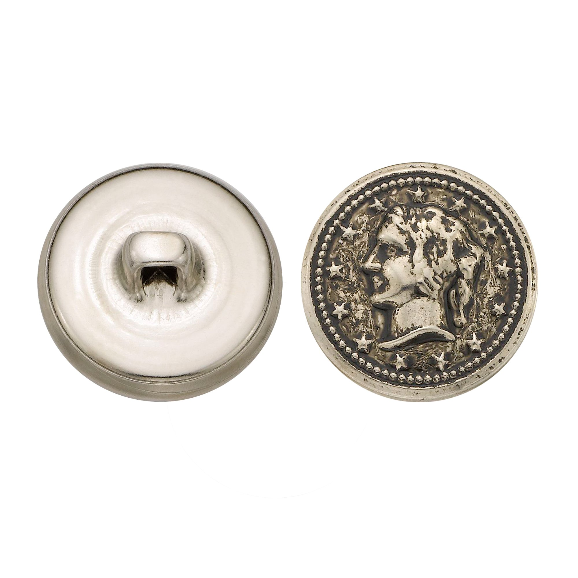 C&C Metal Products 5328 Lady Head Coin Metal Button, Size 30 Ligne, Antique Nickel, 36-Pack