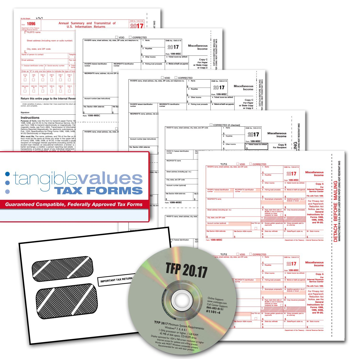 Amazon tangible values 1099 misc laser forms 4 part kit with amazon tangible values 1099 misc laser forms 4 part kit with envelopes plus tfp software for 25 individualssuppliers 2017 tax forms office falaconquin